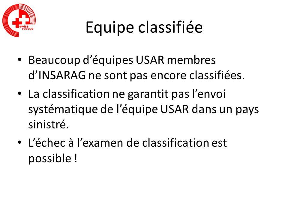 Equipe classifiée Beaucoup déquipes USAR membres dINSARAG ne sont pas encore classifiées. La classification ne garantit pas lenvoi systématique de léq