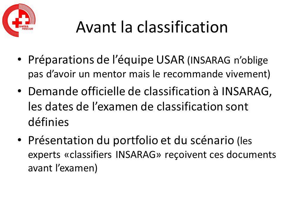 Avant la classification Préparations de léquipe USAR (INSARAG noblige pas davoir un mentor mais le recommande vivement) Demande officielle de classifi