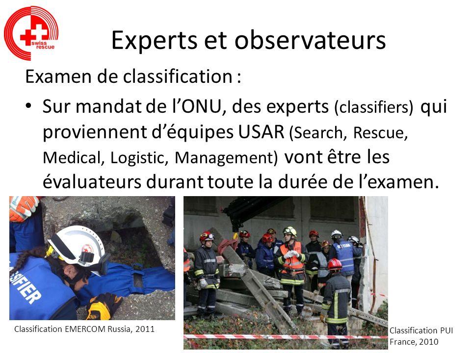 Experts et observateurs Examen de classification : Sur mandat de lONU, des experts (classifiers) qui proviennent déquipes USAR (Search, Rescue, Medica