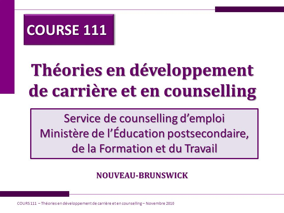 Théories en développement de carrière et en counselling Service de counselling demploi Ministère de lÉducation postsecondaire, de la Formation et du T