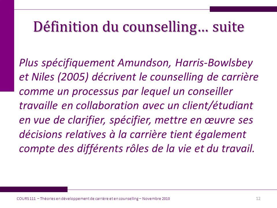 Plus spécifiquement Amundson, Harris-Bowlsbey et Niles (2005) décrivent le counselling de carrière comme un processus par lequel un conseiller travail