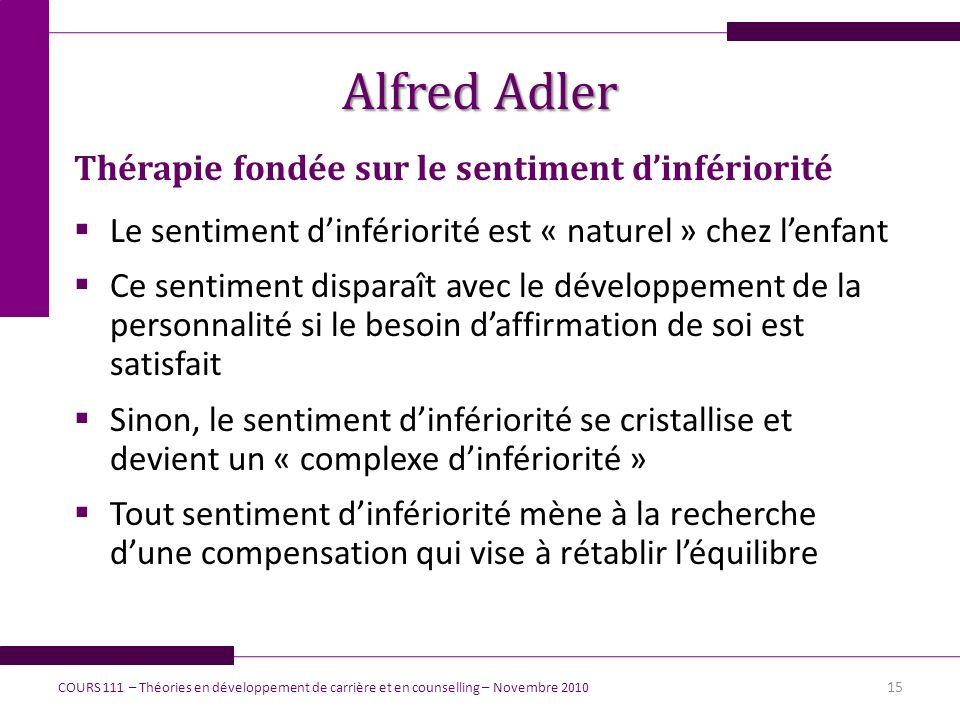 Alfred Adler Thérapie fondée sur le sentiment dinfériorité Le sentiment dinfériorité est « naturel » chez lenfant Ce sentiment disparaît avec le dével