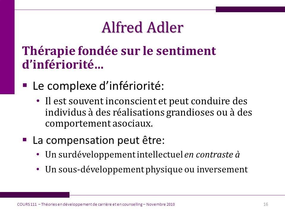 Alfred Adler Thérapie fondée sur le sentiment dinfériorité… Le complexe dinfériorité: Il est souvent inconscient et peut conduire des individus à des