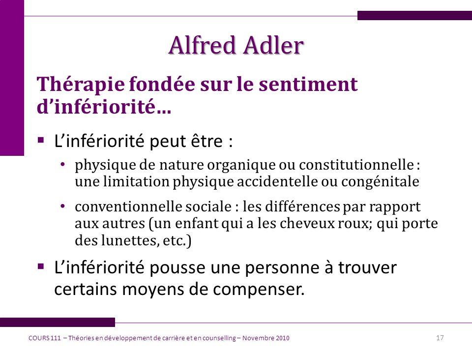 Alfred Adler Thérapie fondée sur le sentiment dinfériorité… Linfériorité peut être : physique de nature organique ou constitutionnelle : une limitatio