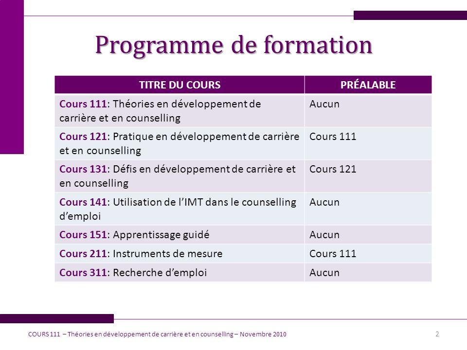 Programme de formation TITRE DU COURSPRÉALABLE Cours 111: Théories en développement de carrière et en counselling Aucun Cours 121: Pratique en dévelop