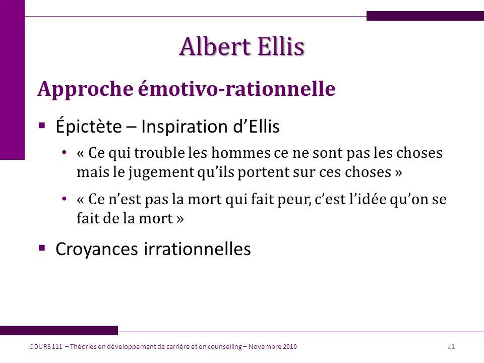 Albert Ellis Approche émotivo-rationnelle Épictète – Inspiration dEllis « Ce qui trouble les hommes ce ne sont pas les choses mais le jugement quils p