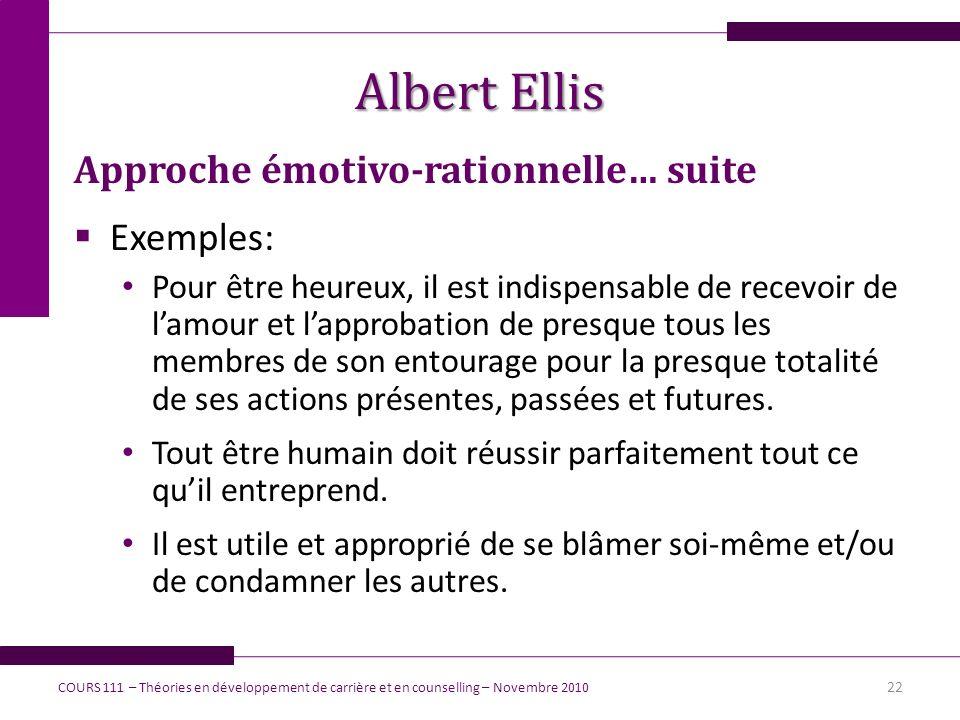 Albert Ellis Approche émotivo-rationnelle… suite Exemples: Pour être heureux, il est indispensable de recevoir de lamour et lapprobation de presque to