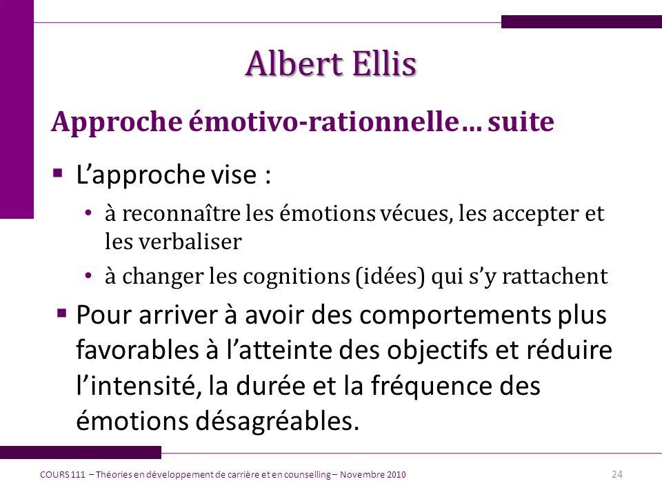 Albert Ellis Approche émotivo-rationnelle… suite Lapproche vise : à reconnaître les émotions vécues, les accepter et les verbaliser à changer les cogn