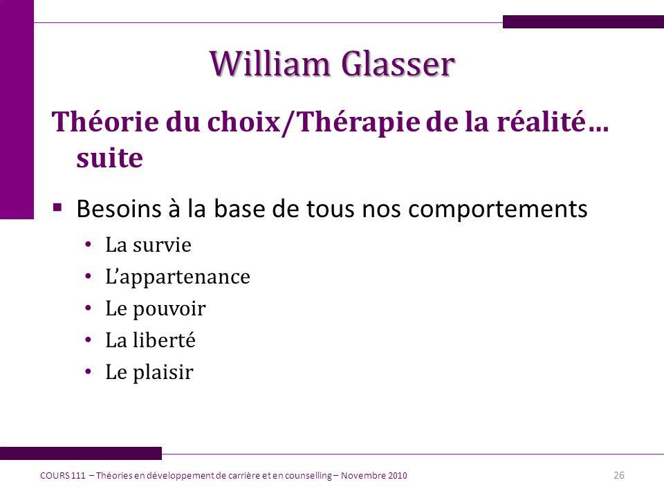 William Glasser Théorie du choix/Thérapie de la réalité… suite Besoins à la base de tous nos comportements La survie Lappartenance Le pouvoir La liber