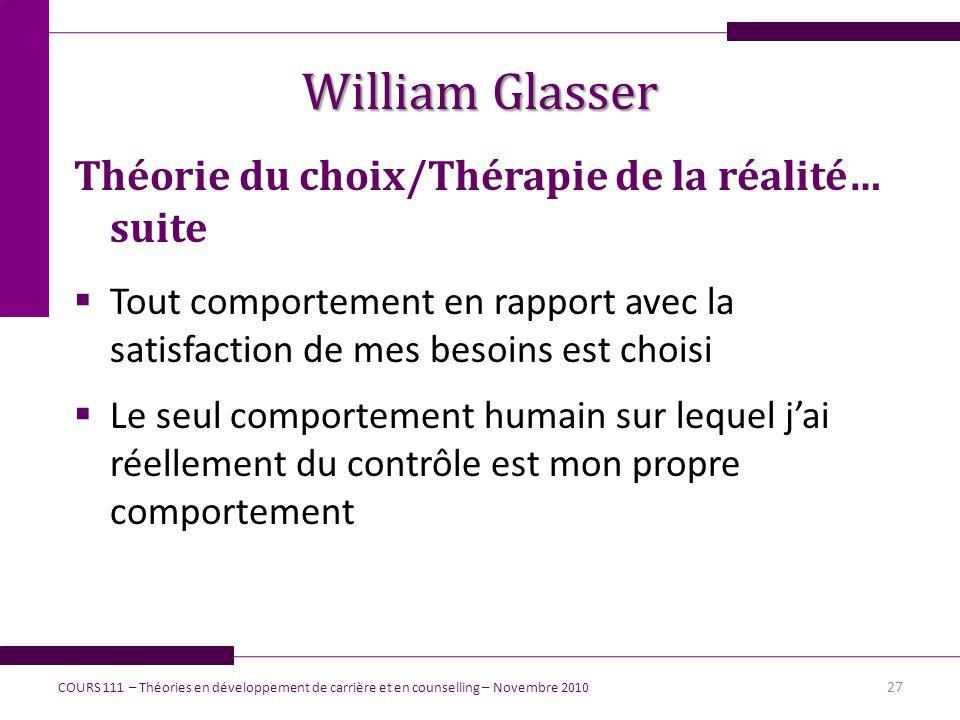 William Glasser Théorie du choix/Thérapie de la réalité… suite Tout comportement en rapport avec la satisfaction de mes besoins est choisi Le seul com