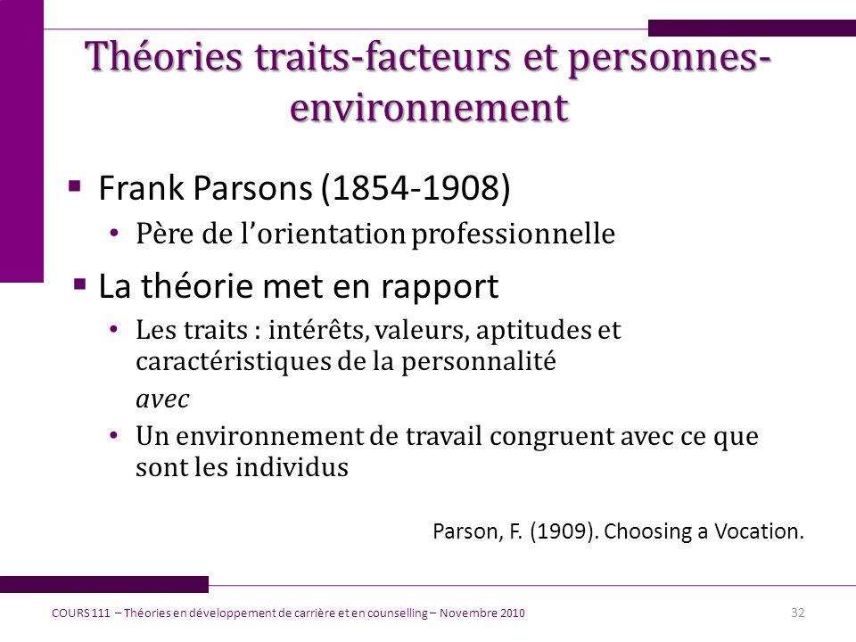 Théories traits-facteurs et personnes- environnement Frank Parsons (1854-1908) Père de lorientation professionnelle La théorie met en rapport Les trai