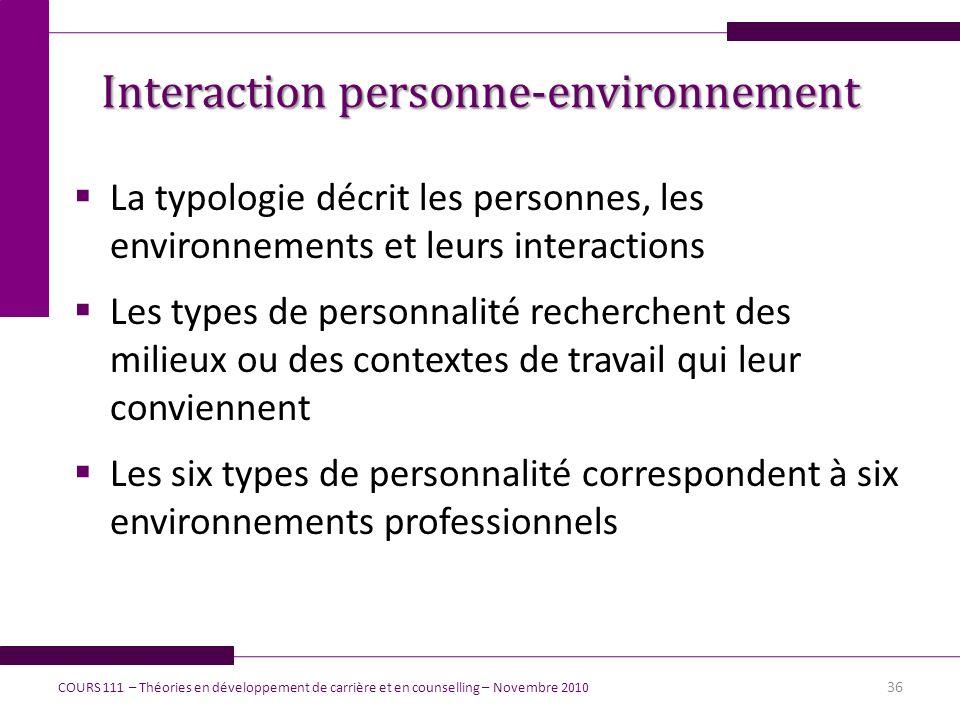 La typologie décrit les personnes, les environnements et leurs interactions Les types de personnalité recherchent des milieux ou des contextes de trav