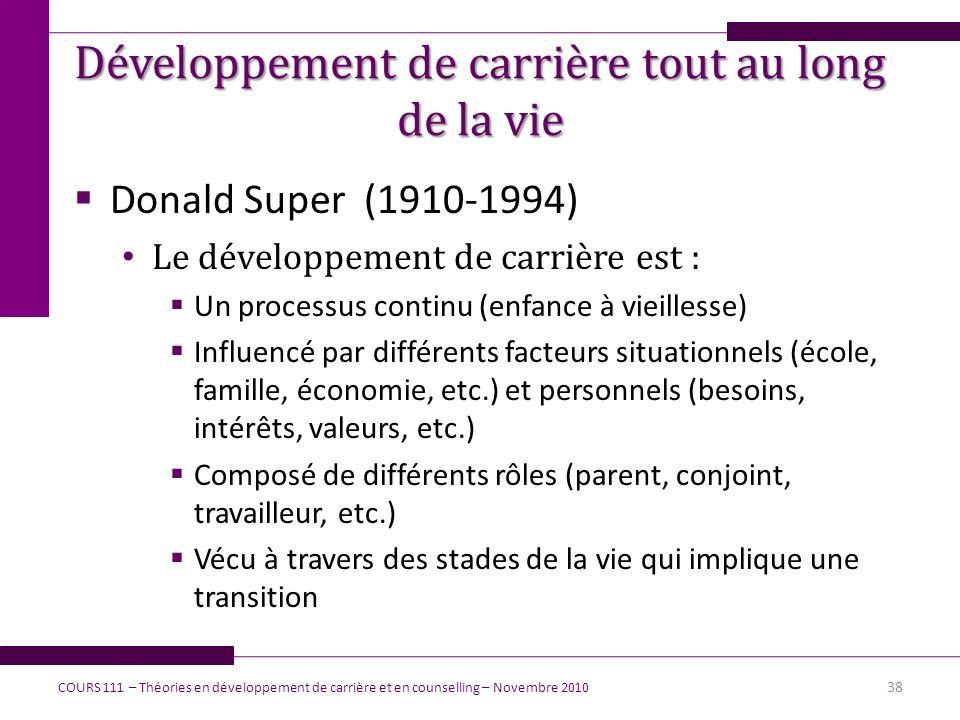 Développement de carrière tout au long de la vie Donald Super (1910-1994) Le développement de carrière est : Un processus continu (enfance à vieilless