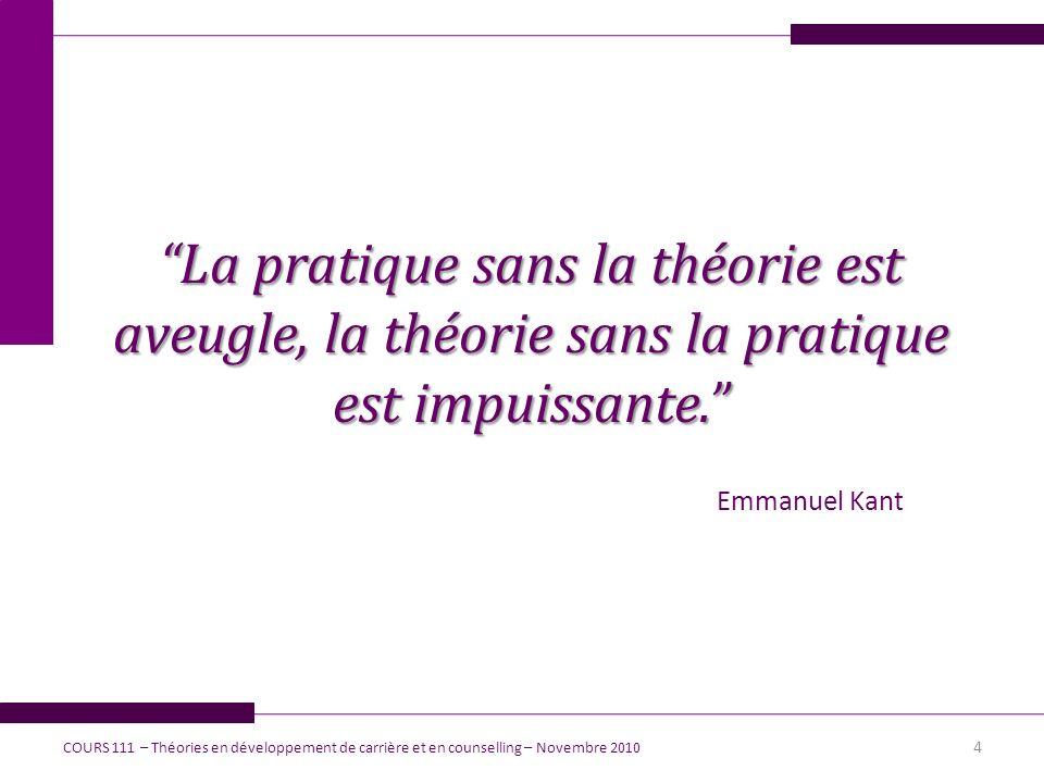 La pratique sans la théorie est aveugle, la théorie sans la pratique est impuissante. Emmanuel Kant 4 COURS 111 – Théories en développement de carrièr
