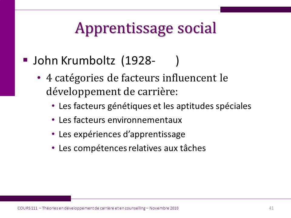 Apprentissage social John Krumboltz (1928- ) 4 catégories de facteurs influencent le développement de carrière: Les facteurs génétiques et les aptitud