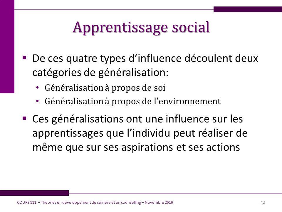 Apprentissage social De ces quatre types dinfluence découlent deux catégories de généralisation: Généralisation à propos de soi Généralisation à propo