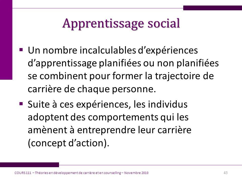 Apprentissage social Un nombre incalculables dexpériences dapprentissage planifiées ou non planifiées se combinent pour former la trajectoire de carri