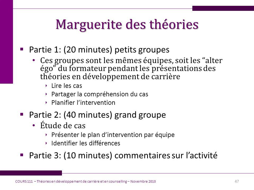 Marguerite des théories Partie 1: (20 minutes) petits groupes Ces groupes sont les mêmes équipes, soit les alter égo du formateur pendant les présenta