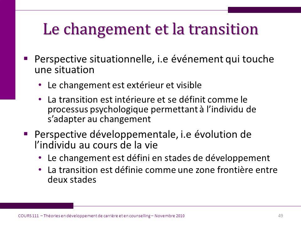 Le changement et la transition Perspective situationnelle, i.e événement qui touche une situation Le changement est extérieur et visible La transition