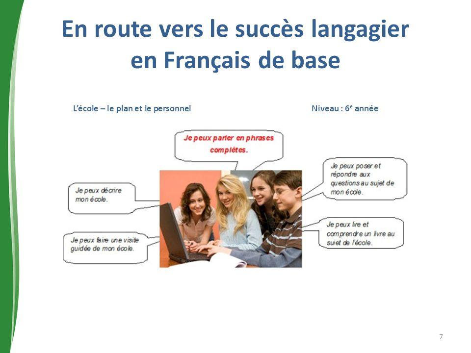 En route vers le succès langagier en Français de base Lécole – le plan et le personnel Niveau : 6 e année 7