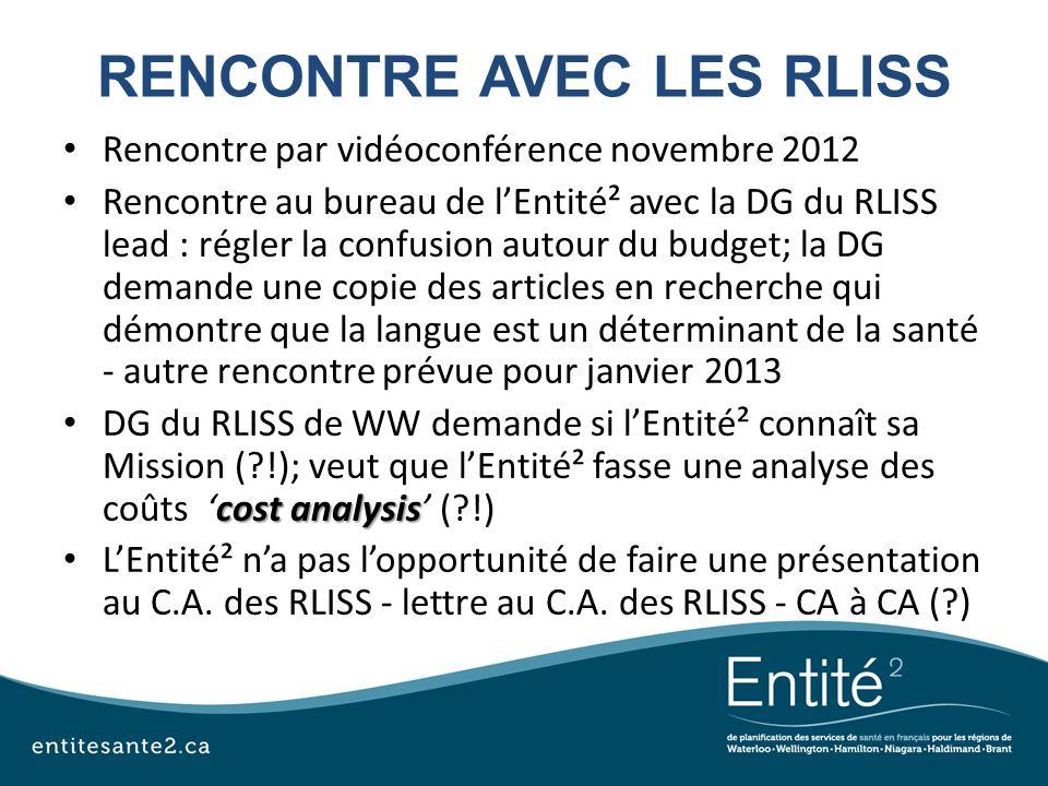 RENCONTRE AVEC LES RLISS Rencontre par vidéoconférence novembre 2012 Rencontre au bureau de lEntité² avec la DG du RLISS lead : régler la confusion au