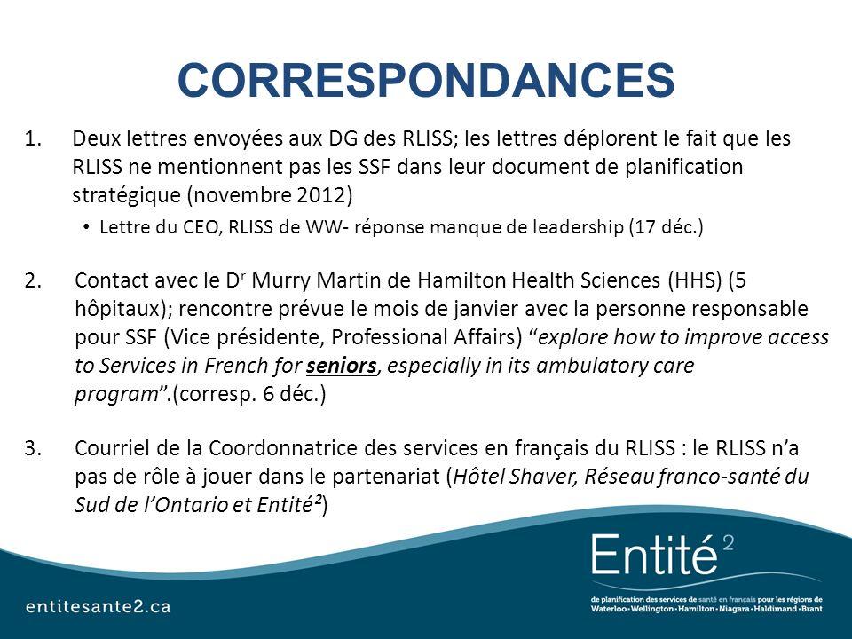 CORRESPONDANCES 1.Deux lettres envoyées aux DG des RLISS; les lettres déplorent le fait que les RLISS ne mentionnent pas les SSF dans leur document de