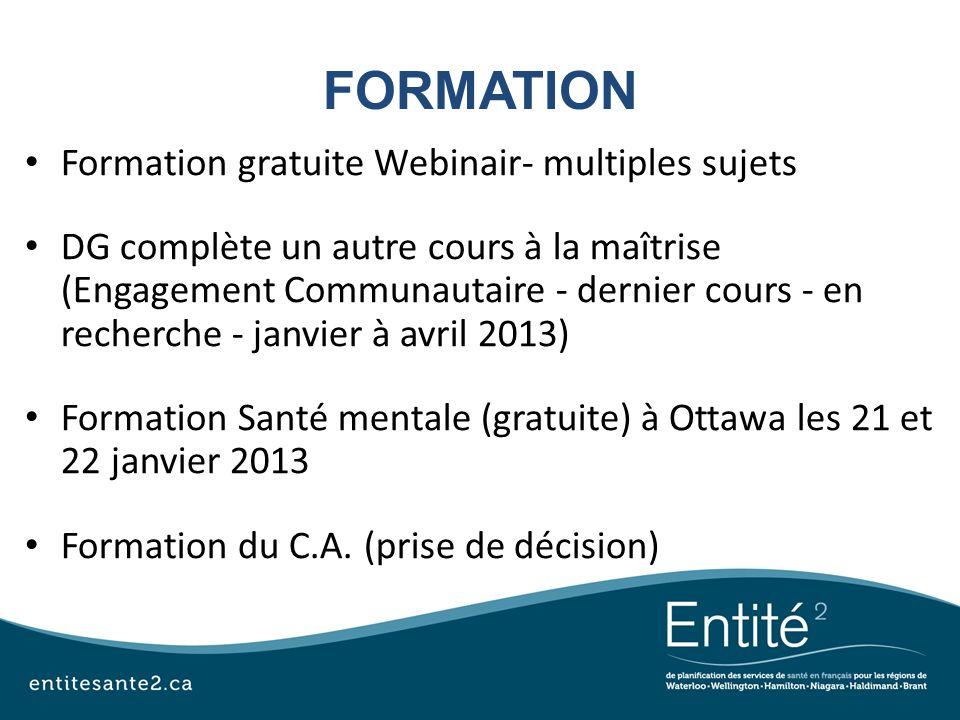 FORMATION Formation gratuite Webinair- multiples sujets DG complète un autre cours à la maîtrise (Engagement Communautaire - dernier cours - en recher