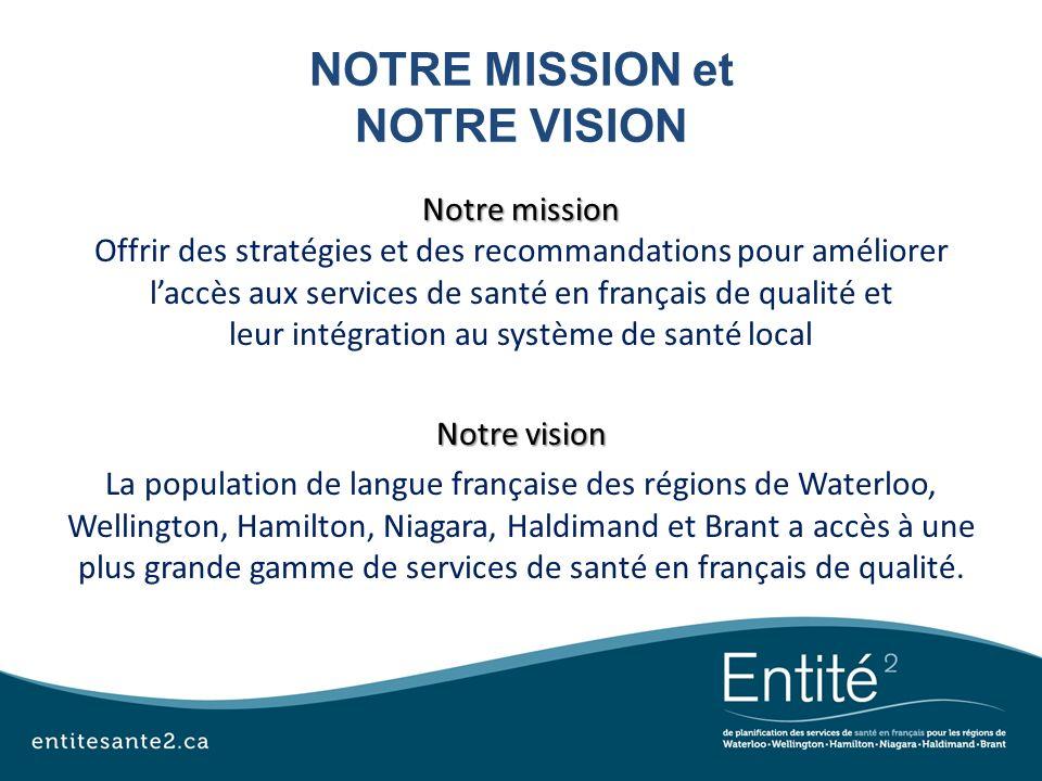 NOTRE MISSION et NOTRE VISION Notre mission Offrir des stratégies et des recommandations pour améliorer laccès aux services de santé en français de qu