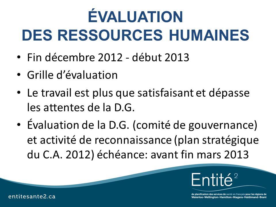 ÉVALUATION DES RESSOURCES HUMAINES Fin décembre 2012 - début 2013 Grille dévaluation Le travail est plus que satisfaisant et dépasse les attentes de l