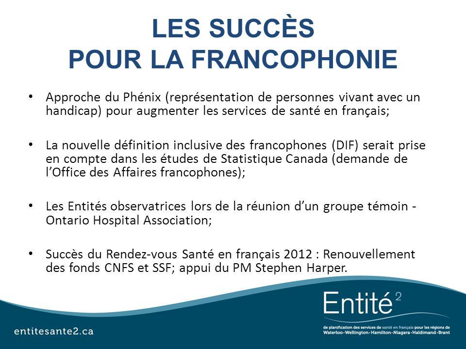 LES SUCCÈS POUR LA FRANCOPHONIE Approche du Phénix (représentation de personnes vivant avec un handicap) pour augmenter les services de santé en franç
