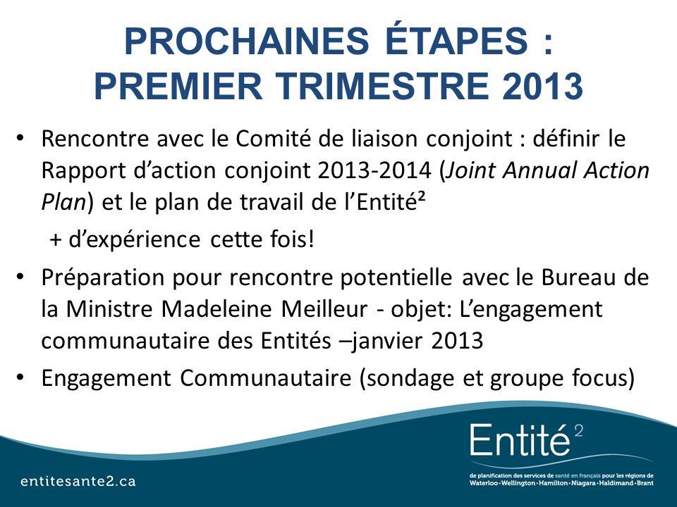 PROCHAINES ÉTAPES : PREMIER TRIMESTRE 2013 Rencontre avec le Comité de liaison conjoint : définir le Rapport daction conjoint 2013-2014 (Joint Annual