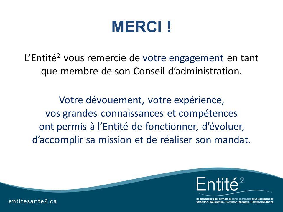 MERCI ! LEntité 2 vous remercie de votre engagement en tant que membre de son Conseil dadministration. Votre dévouement, votre expérience, vos grandes