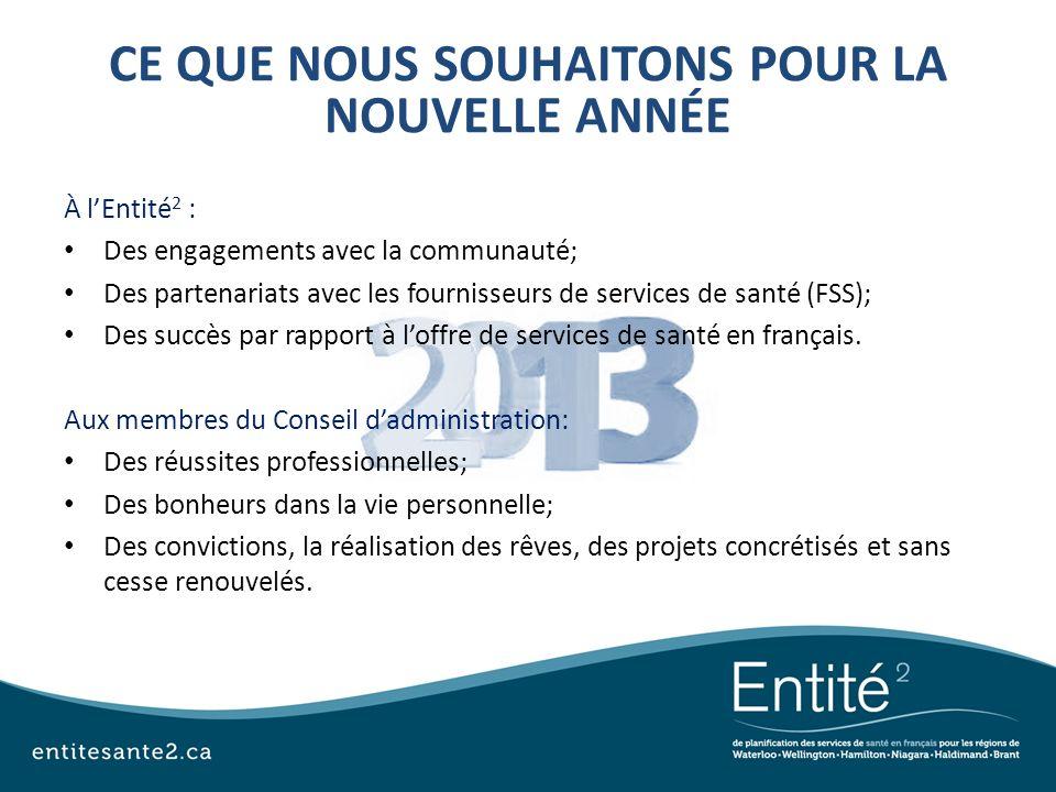 À lEntité 2 : Des engagements avec la communauté; Des partenariats avec les fournisseurs de services de santé (FSS); Des succès par rapport à loffre d