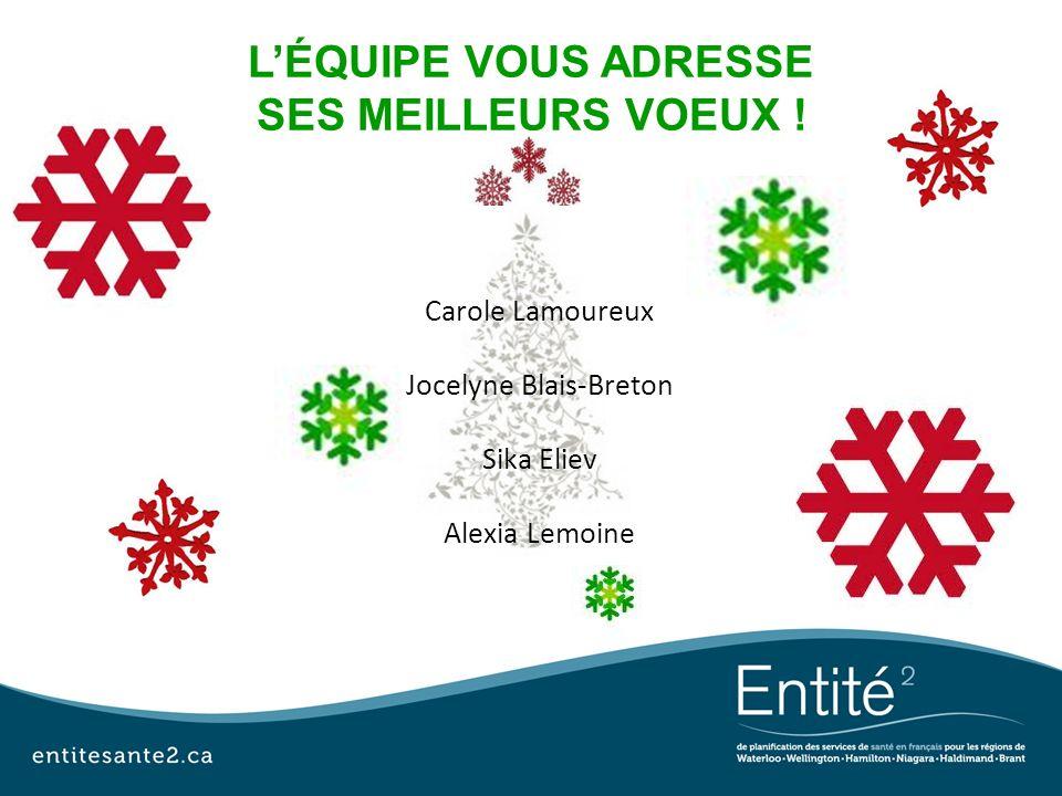LÉQUIPE VOUS ADRESSE SES MEILLEURS VOEUX ! Carole Lamoureux Jocelyne Blais-Breton Sika Eliev Alexia Lemoine
