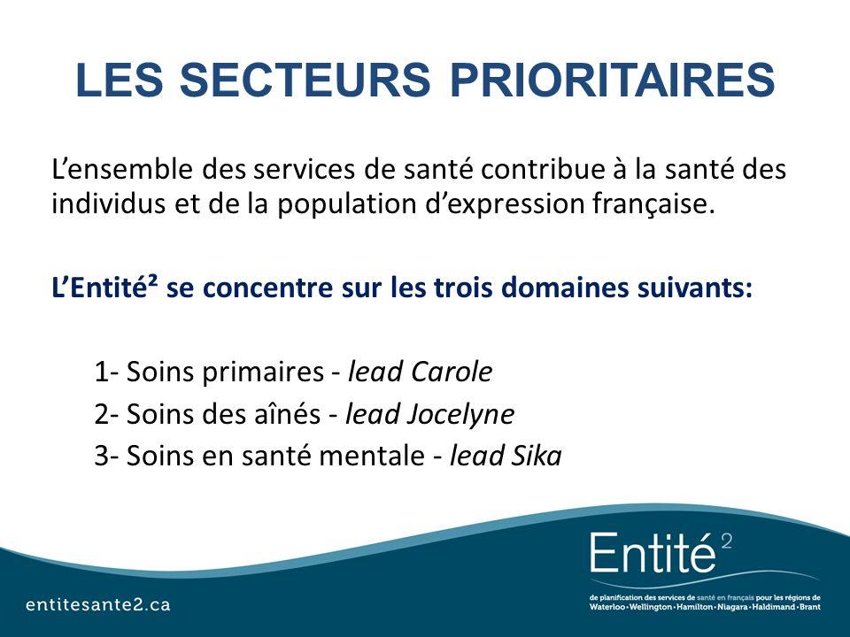 LES SECTEURS PRIORITAIRES Lensemble des services de santé contribue à la santé des individus et de la population dexpression française. LEntité² se co