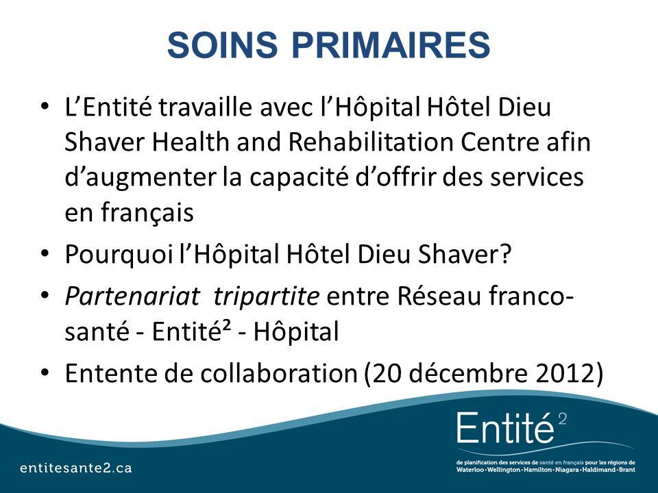 SOINS PRIMAIRES LEntité travaille avec lHôpital Hôtel Dieu Shaver Health and Rehabilitation Centre afin daugmenter la capacité doffrir des services en