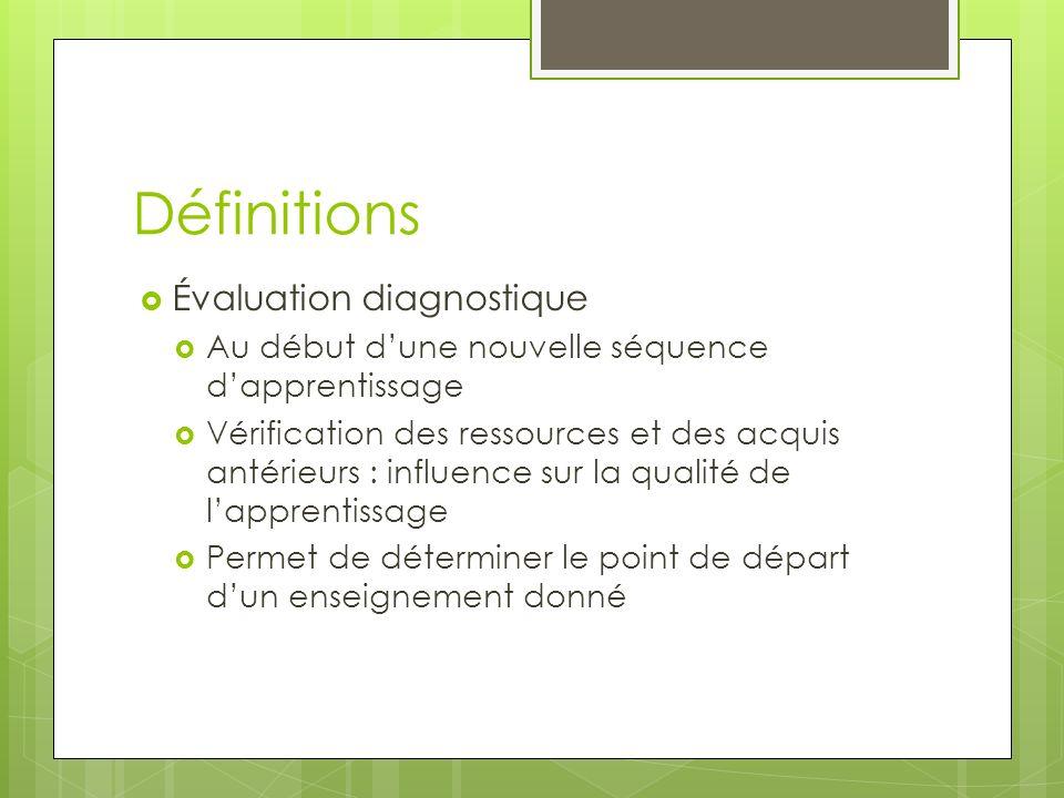 Définitions Évaluation diagnostique Au début dune nouvelle séquence dapprentissage Vérification des ressources et des acquis antérieurs : influence su