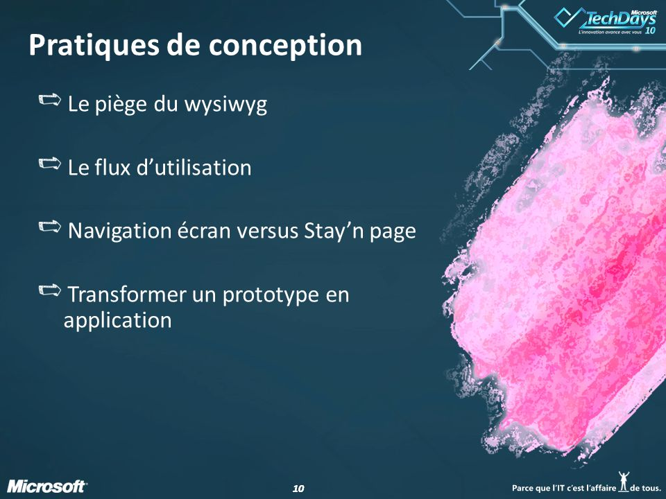 10 Pratiques de conception Le piège du wysiwyg Le flux dutilisation Navigation écran versus Stayn page Transformer un prototype en application