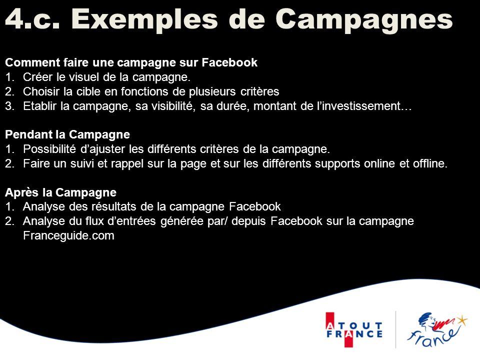 4.c. Exemples de Campagnes Comment faire une campagne sur Facebook 1.Créer le visuel de la campagne. 2.Choisir la cible en fonctions de plusieurs crit