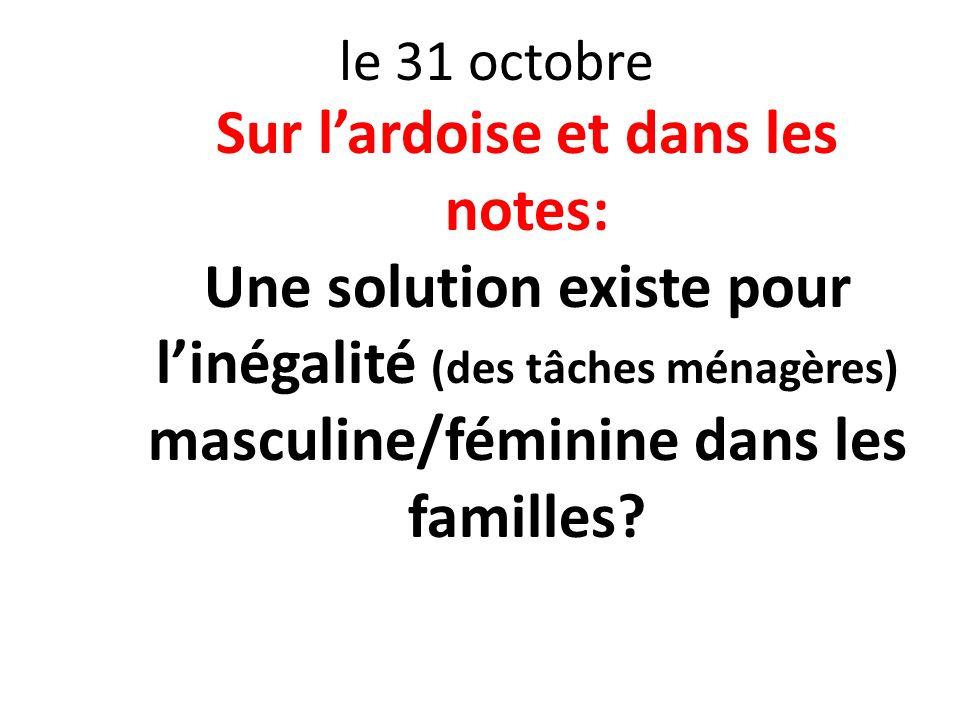 le 31 octobre Sur lardoise et dans les notes: Une solution existe pour linégalité (des tâches ménagères) masculine/féminine dans les familles?