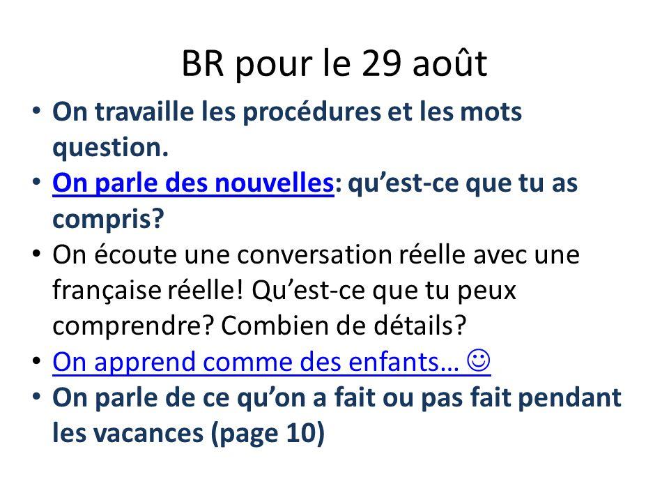 BR pour le 29 août On travaille les procédures et les mots question. On parle des nouvelles: quest-ce que tu as compris? On parle des nouvelles On éco