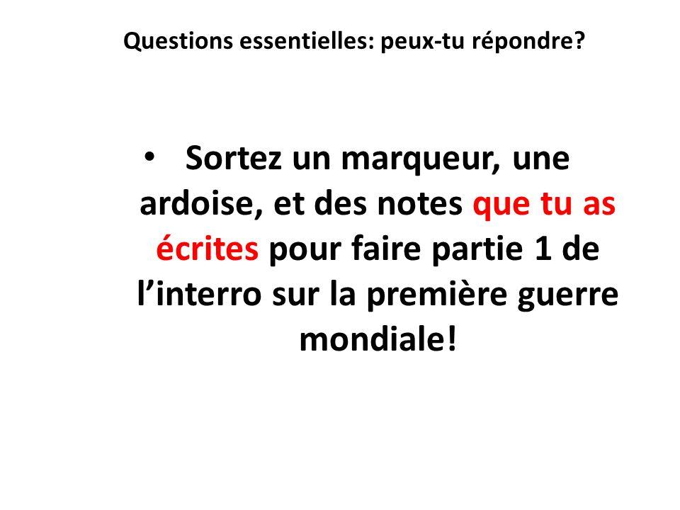Questions essentielles: peux-tu répondre? Sortez un marqueur, une ardoise, et des notes que tu as écrites pour faire partie 1 de linterro sur la premi
