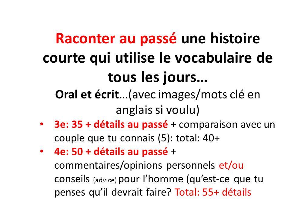 Raconter au passé une histoire courte qui utilise le vocabulaire de tous les jours… Oral et écrit…(avec images/mots clé en anglais si voulu) 3e: 35 +