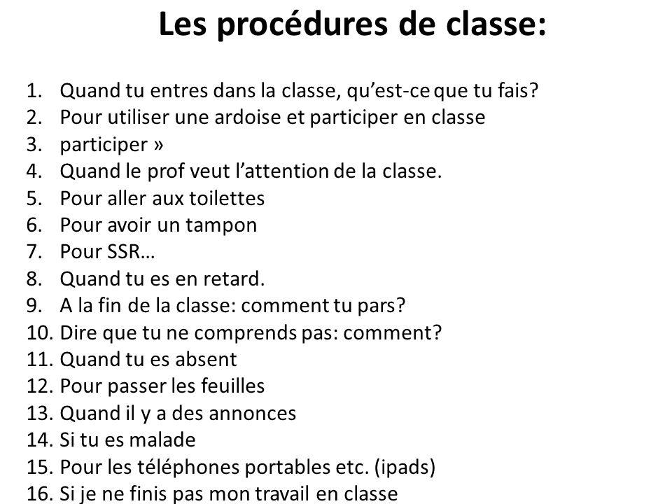 Les procédures de classe: 1.Quand tu entres dans la classe, quest-ce que tu fais? 2.Pour utiliser une ardoise et participer en classe 3.participer » 4