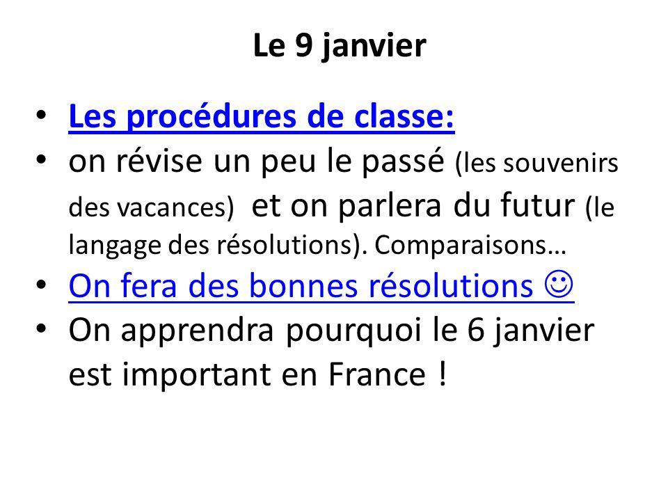 Le 9 janvier Les procédures de classe: on révise un peu le passé (les souvenirs des vacances) et on parlera du futur (le langage des résolutions). Com