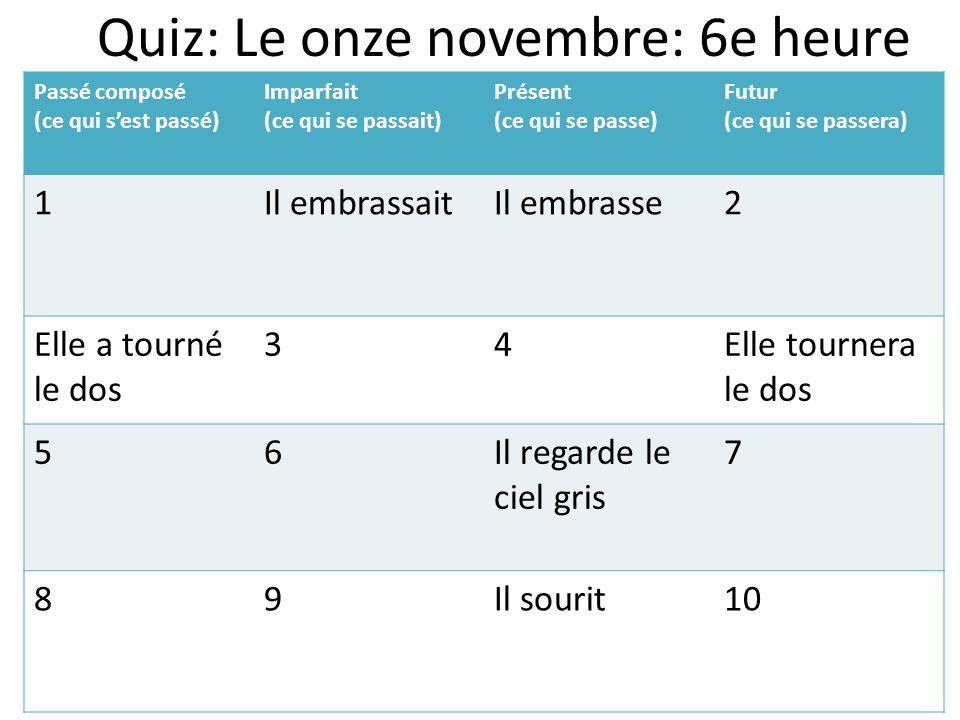 Quiz: Le onze novembre: 6e heure Passé composé (ce qui sest passé) Imparfait (ce qui se passait) Présent (ce qui se passe) Futur (ce qui se passera) 1