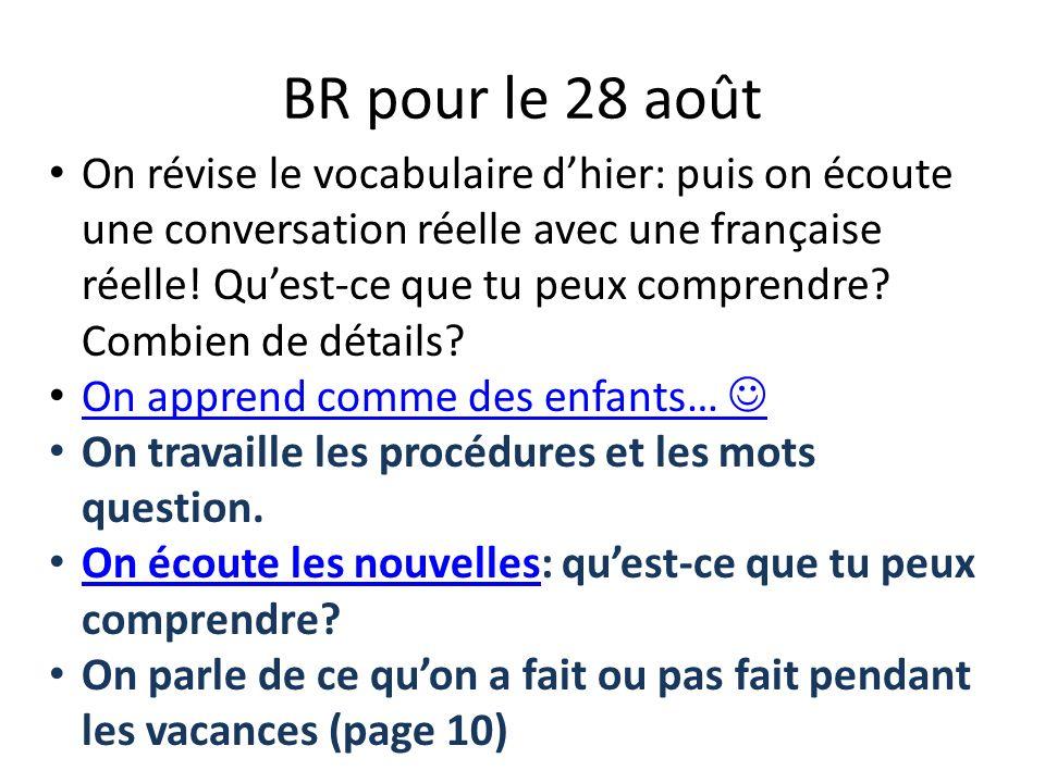 BR pour le 28 août On révise le vocabulaire dhier: puis on écoute une conversation réelle avec une française réelle! Quest-ce que tu peux comprendre?