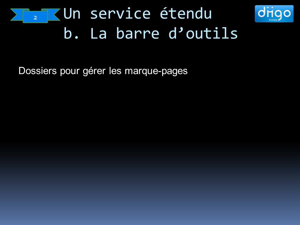 Dossiers pour gérer les marque-pages Un service étendu b. La barre doutils 2