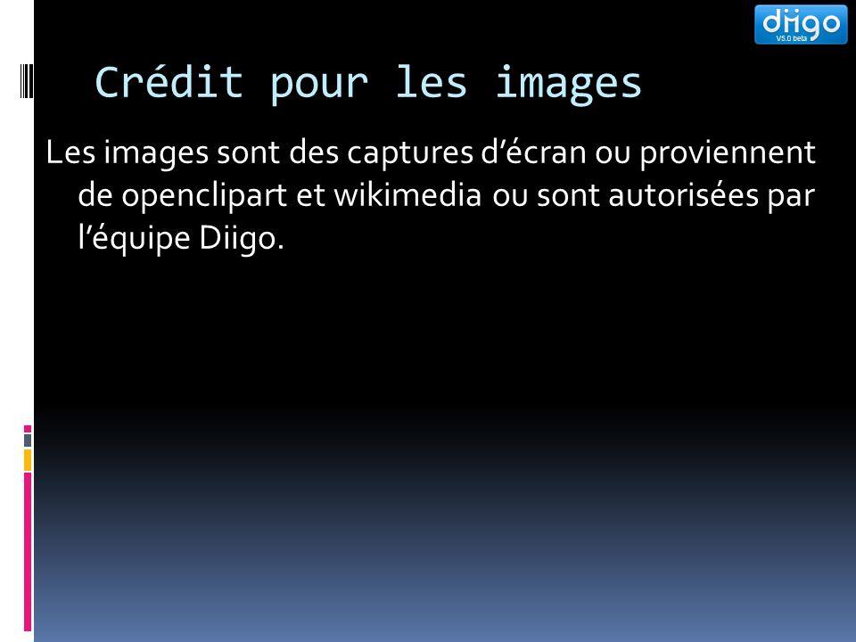 Crédit pour les images Les images sont des captures décran ou proviennent de openclipart et wikimedia ou sont autorisées par léquipe Diigo.