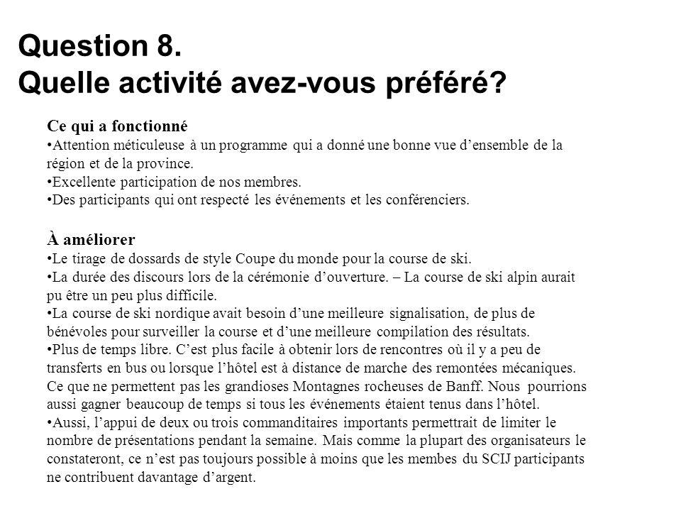 Question 8. Quelle activité avez-vous préféré.